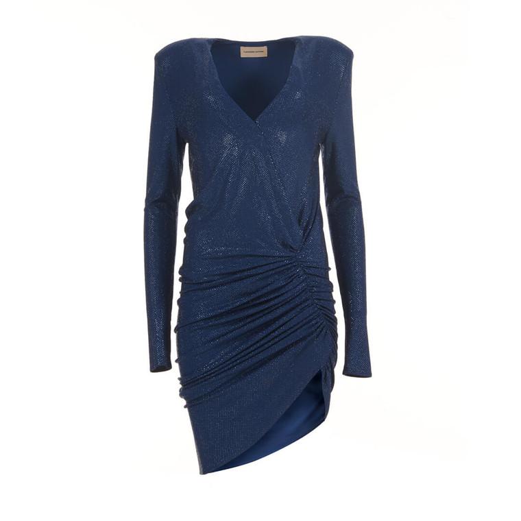 Women Alexandre Vauthier Plunge-Neck Crystal Embellished Mini Dress -  Blue Size S US 6 FR 38