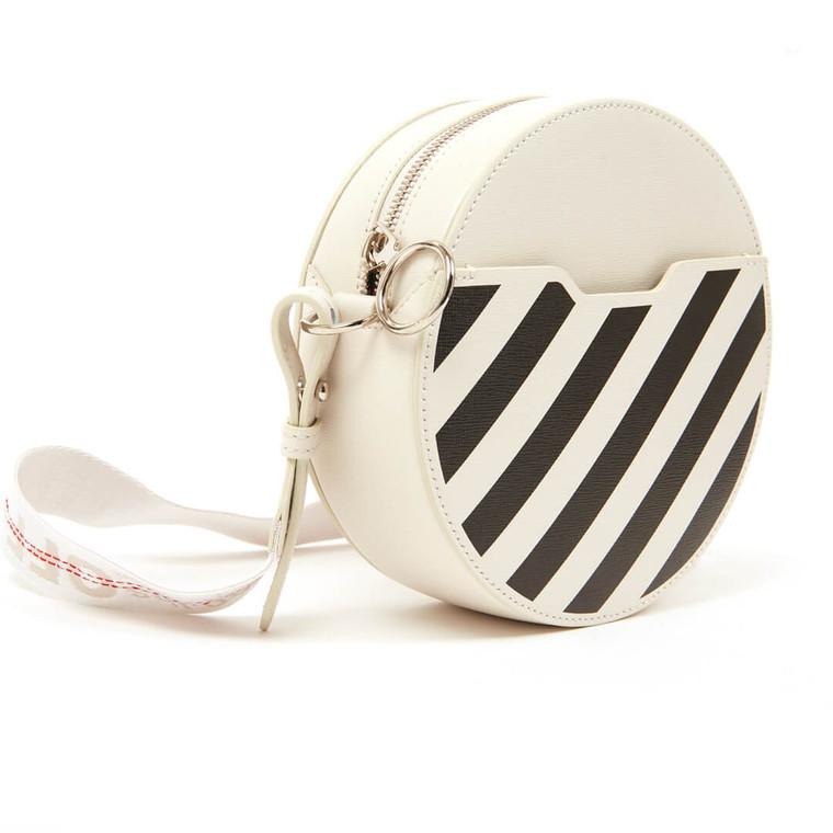 Women Off-White Diag-Stripe Crossbody Bag -  White  Black