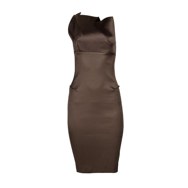 Women Roland Muret Fitted Silk Dress Dark Brown -  Brown Size S UK 8 US 4
