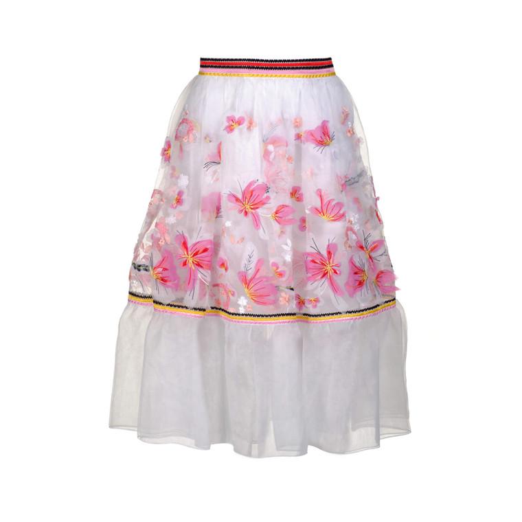 Women Ermanno Scervino Embroidered Organza Skirt White -  White Size S IT 40 US 4