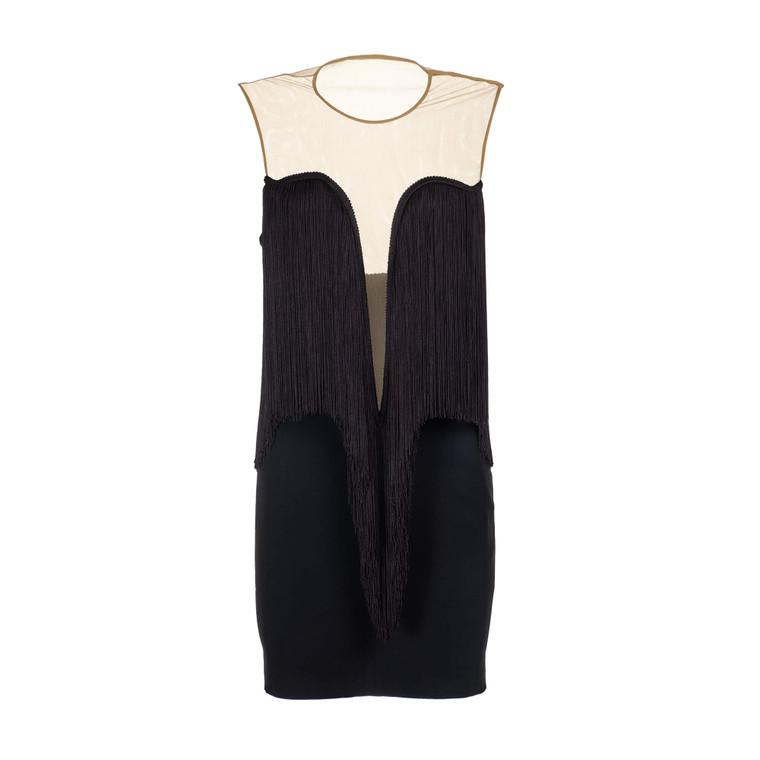 Women Stella McCartney Plunge Fringe Dress -  Black Size S IT 42 US 6