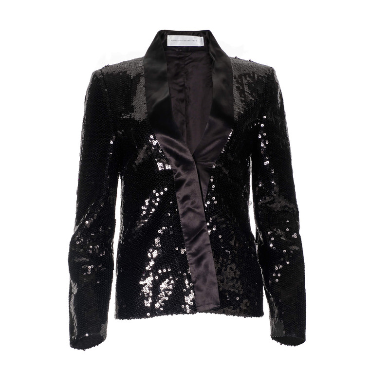 Women Victoria Beckham Sequinned Blazer Black -  Black Size S UK 10 US 6
