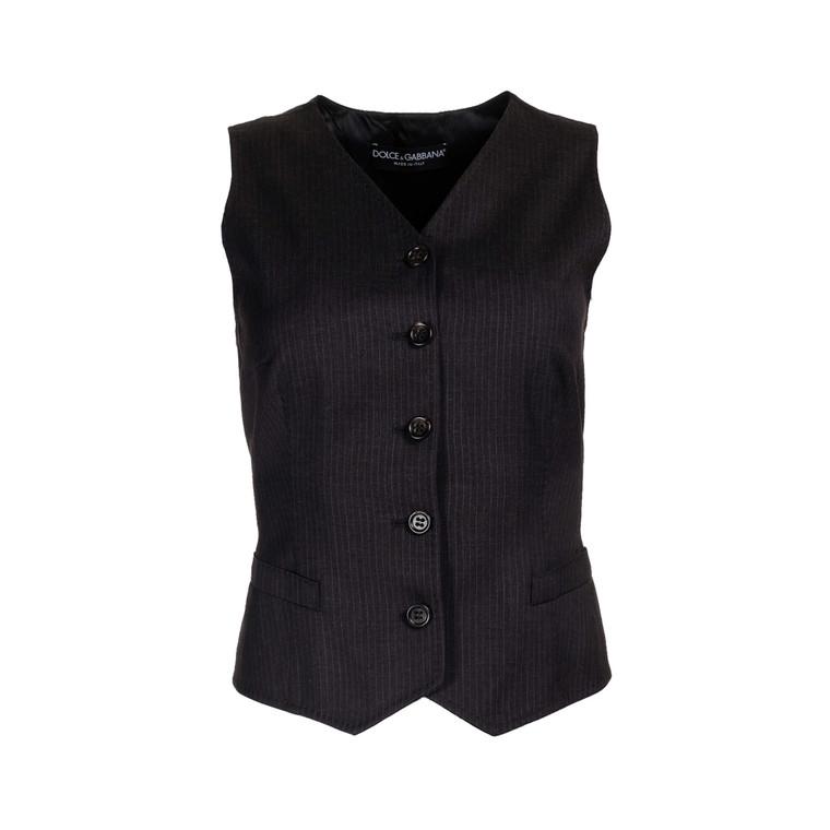 "Women Dolce & Gabbana Pin-Stripe Vest - "" Dark Grey"" Size S FR 38 US 6"