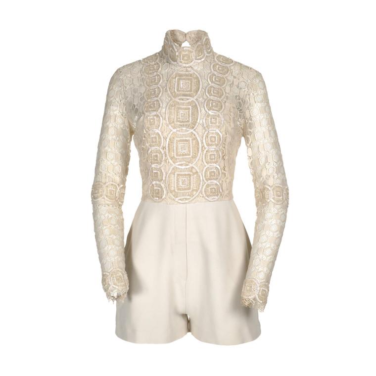 Women Elie Saab Lace Turtleneck Jumpsuit -  White Size S IT 42 US 6
