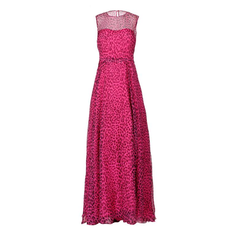 Women Valentino Leopard Print Long Dress -  Pink Size S IT 42 US 6