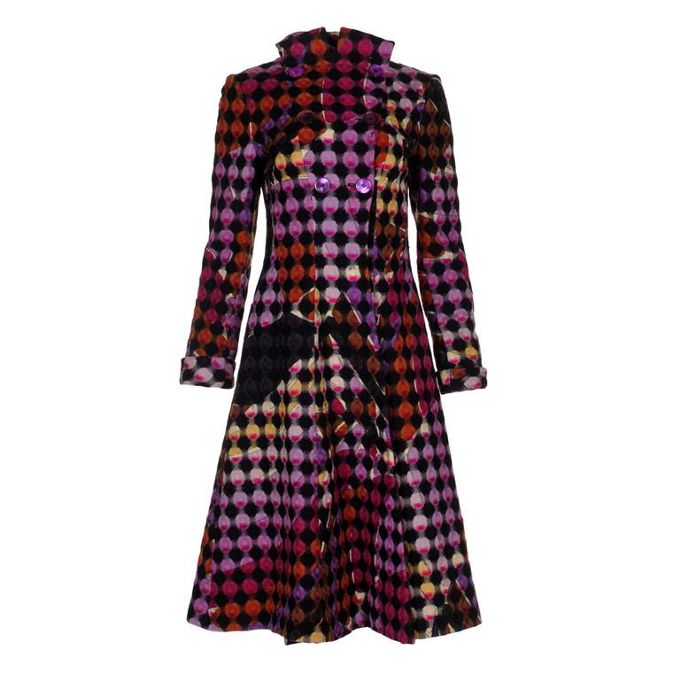 Women Emilio Pucci Geometric Multi Tent Coat -  Pink/Black Size S IT 42 US 6