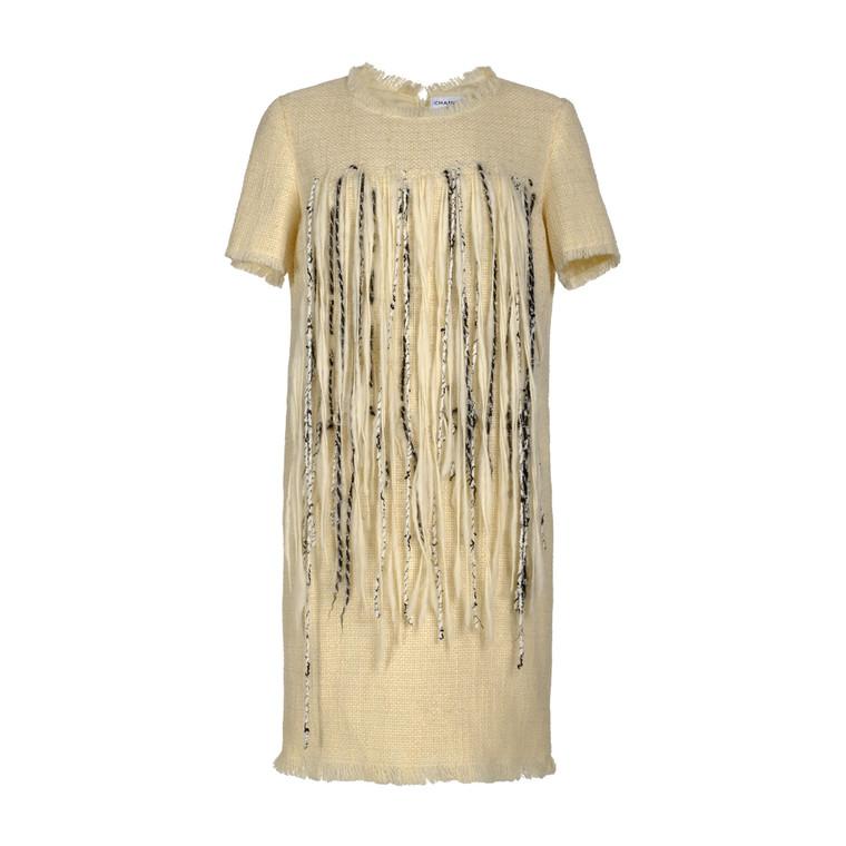 Women Chanel Tweed Fringe Dress -  White Size XL FR 48 US 16