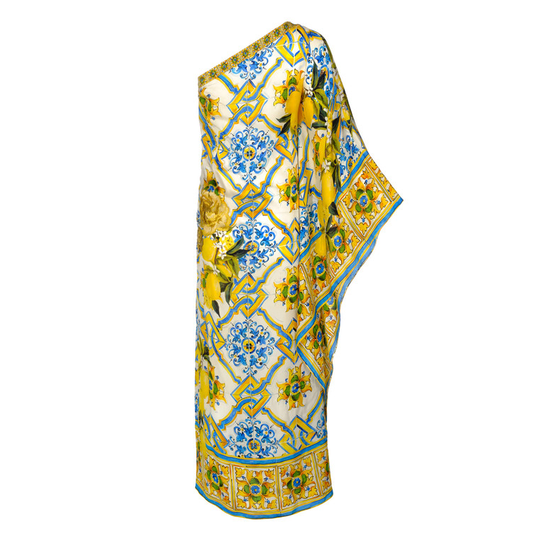 Women Dolce & Gabbana Single-Sleeve Majolica Dress -  Blue Size XS IT 38 US 2