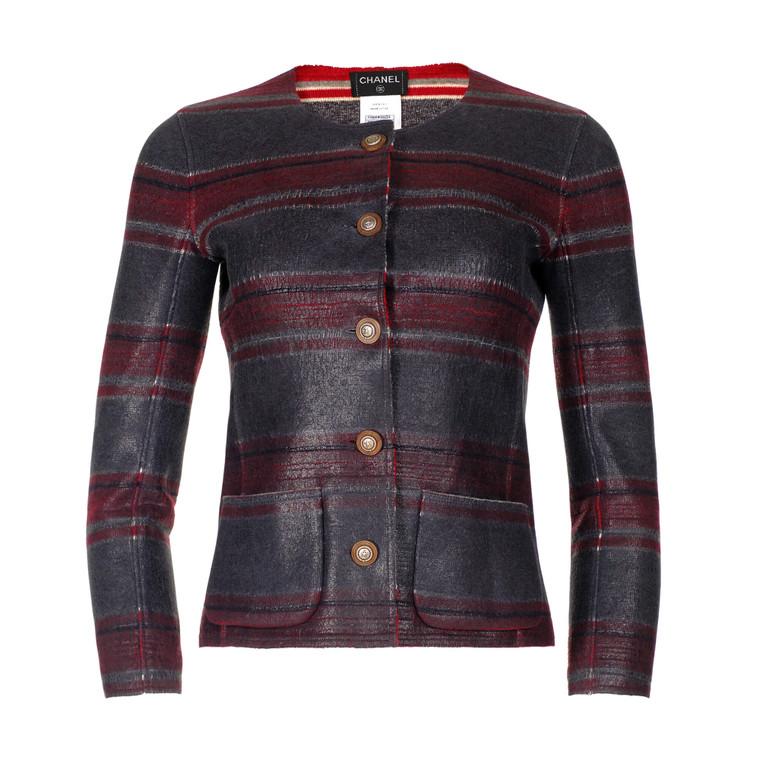 Women Chanel Striped Collarless Jacket -  Multi Size XS FR 34 US 2