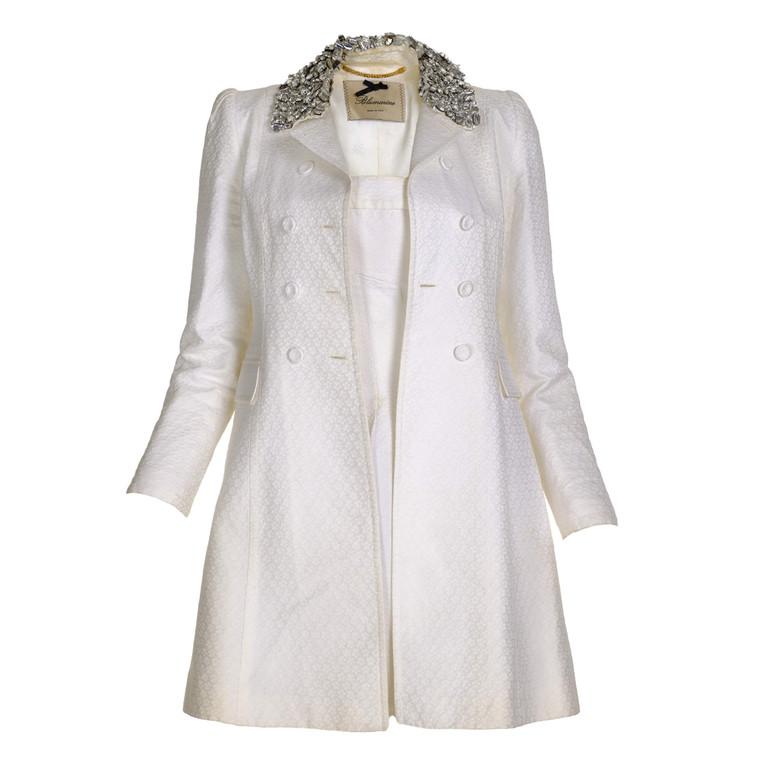 Women Blumarine Embellished Pea Coat -  White Size XS FR 34 US 2