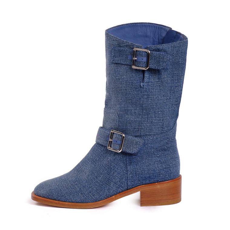 Women Chanel Mid-Calf Denim Boots -  Blue Size 37 US 6