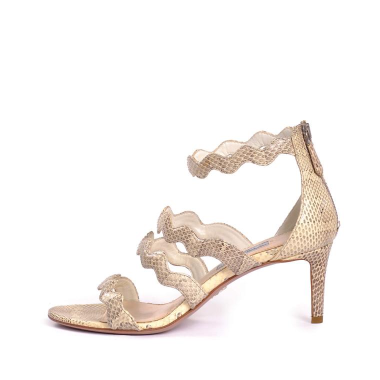 Women Prada Kitten Heel Snakeskin Effect Sandals -  Grey Size 37 US 6