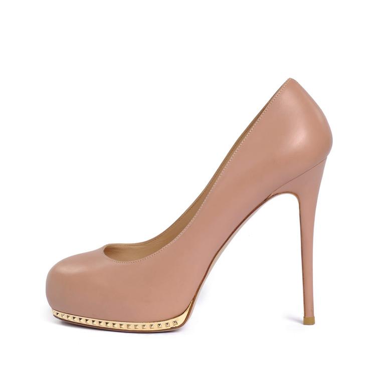 Women Valentino Leather Platform Stiletto Nude -  Beige Size 37 US 6