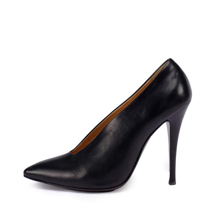 Women Giuseppe Zanotti Slim Slit Front Black Pumps -  Black Size 37.5 US 6.5