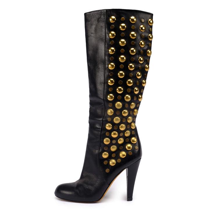 Women Gucci Baboushka Studded Boots -  Black Size 38.5 US 7.5