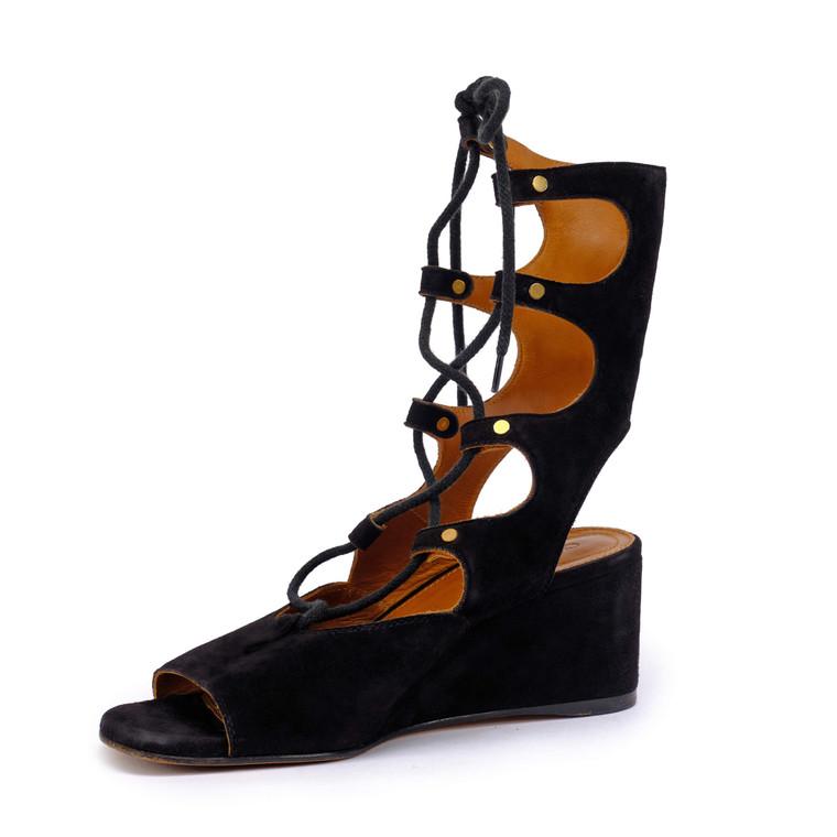 Women Chloé Foster Gladiator Wedges -  Black Size 39 US 8