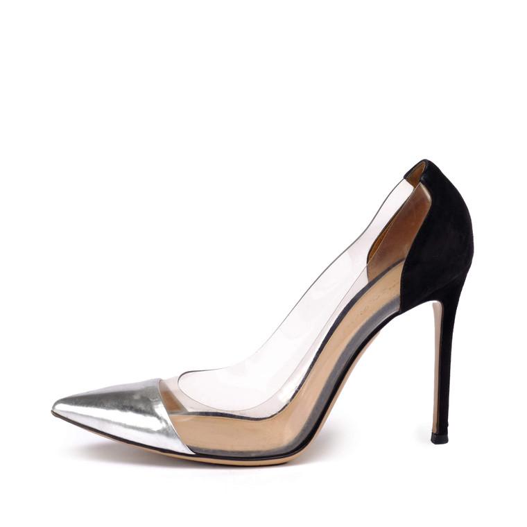Women Gianvito Rossi Plexi Heel -  Black Size 39 US 8  Silver  Multi