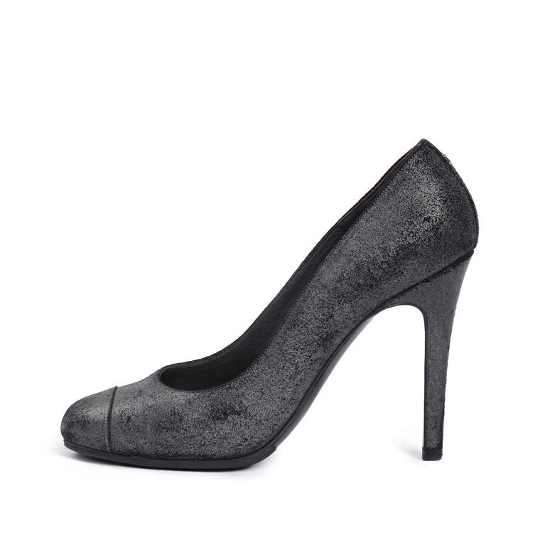 Women Chanel Shimmer Suede Cap Toe Pumps -  Grey Size 39 US 8