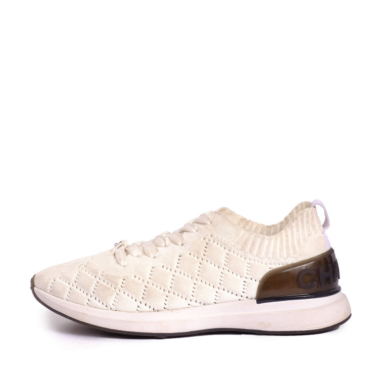 Women Chanel Sock Trainers White -  White Size 39 US 8