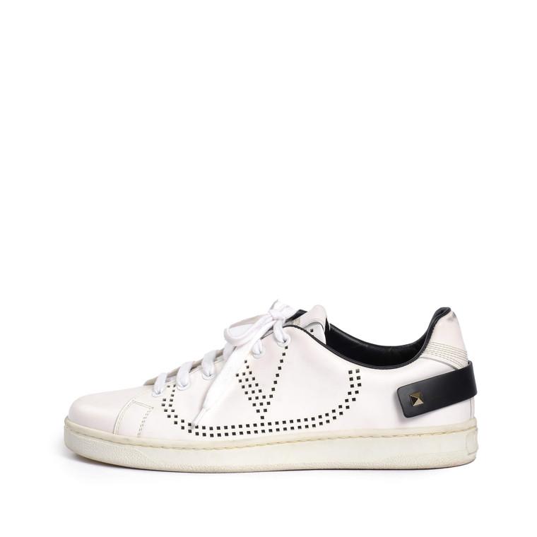 Women Valentino Backnet Leather Trainer White -  White Size 39 US 8