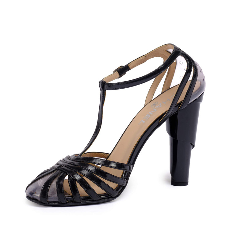 Women Chanel Patent Leather and PVC Swirl Heel -  Black Size 39.5 US 8.5