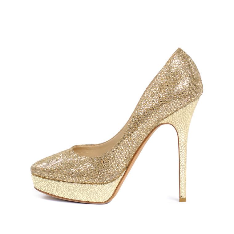 Women Jimmy Choo Jenara Gold Glitter Heels -  Gold Size 39.5 US 8.5