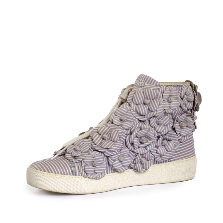 Women Chanel Camellia High-Top Sneakers -  Blue Size 40 US 9