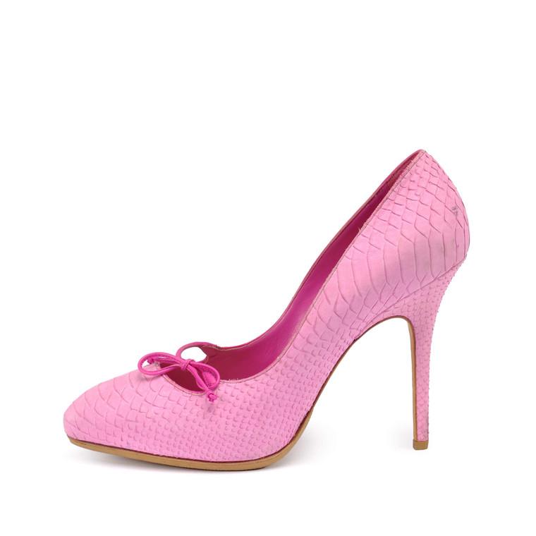 Women Dior Suede Python Embossed Pump -  Pink Size 40 US 9