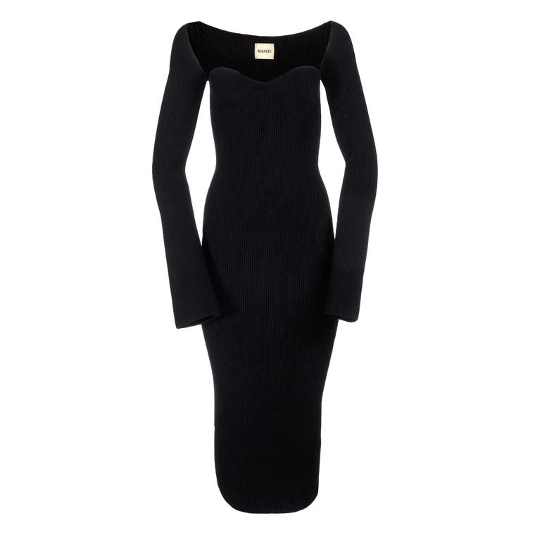 Women Khaite Tight Knit L/S Dress Black -  Black Size M US 6