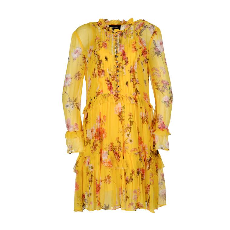 Women The Kooples Short Ruffled Dress -  Yellow Size S US 2 FR 34