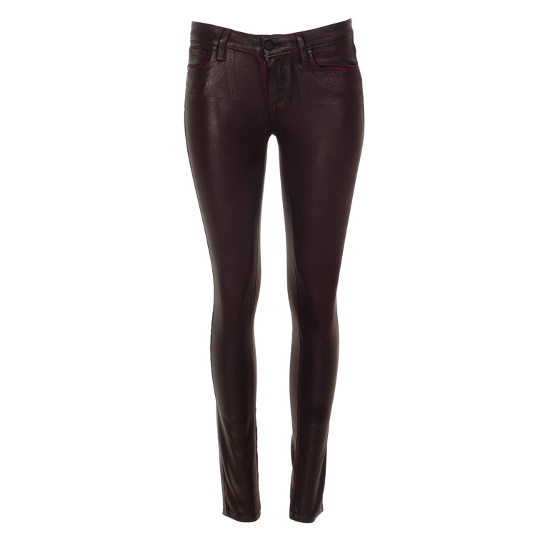 Women Paige Ultra Skinny Leather Verdugo Pants Burgundy -  Red Size S US 26