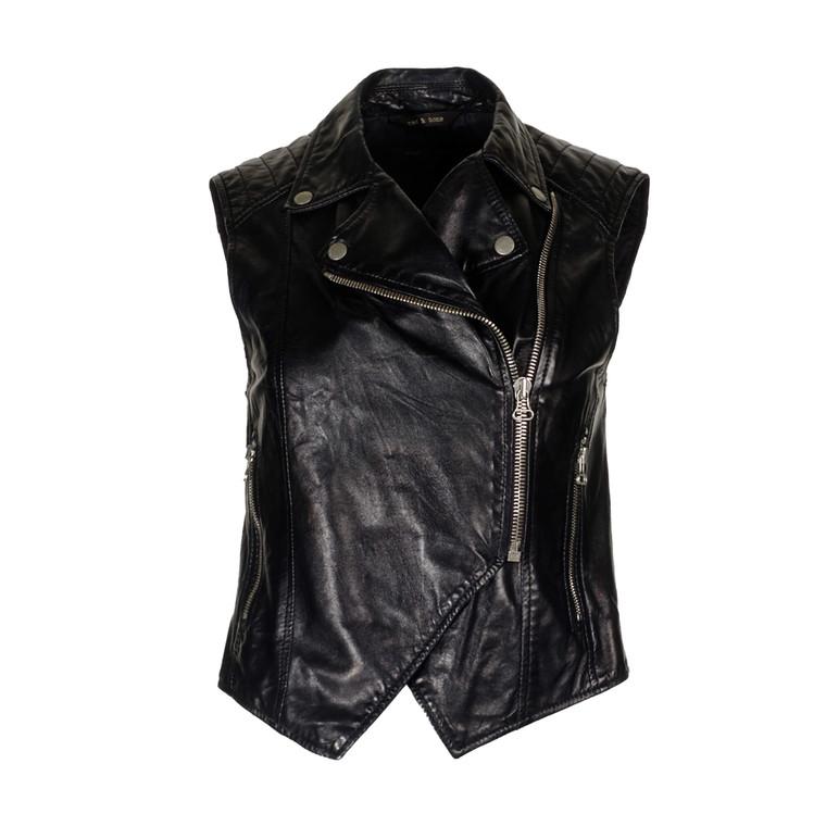 Women Rag & Bone Leather Motorcycle Vest -  Black US 4 Size S