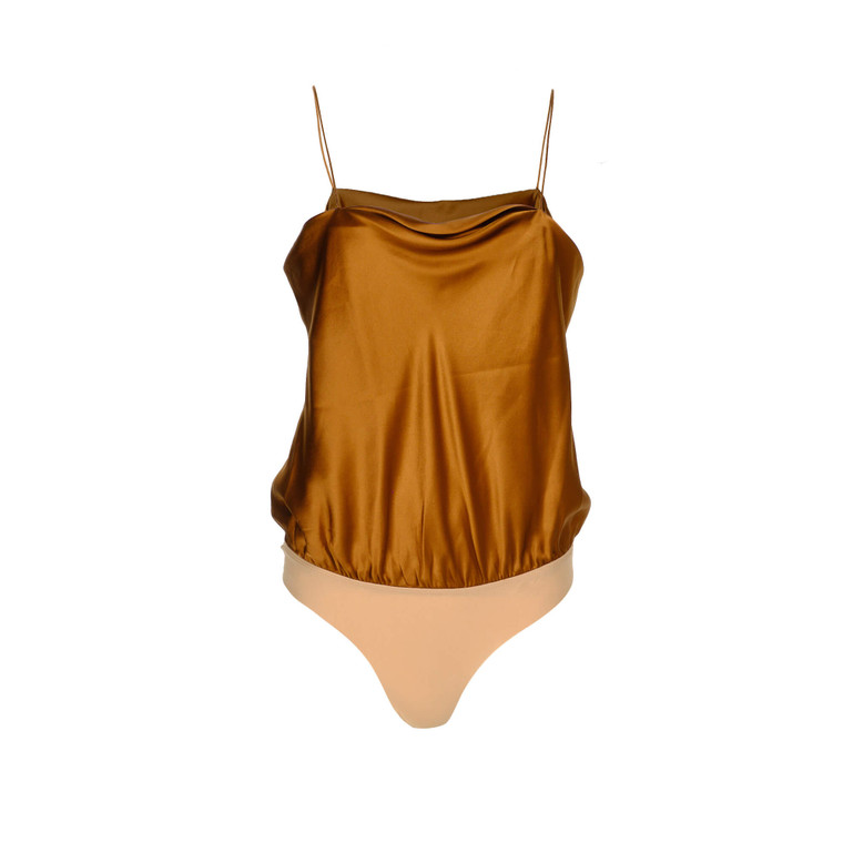 Women Alix NYC Silk Bodysuit Amber -  Gold US 6  Brown Size M