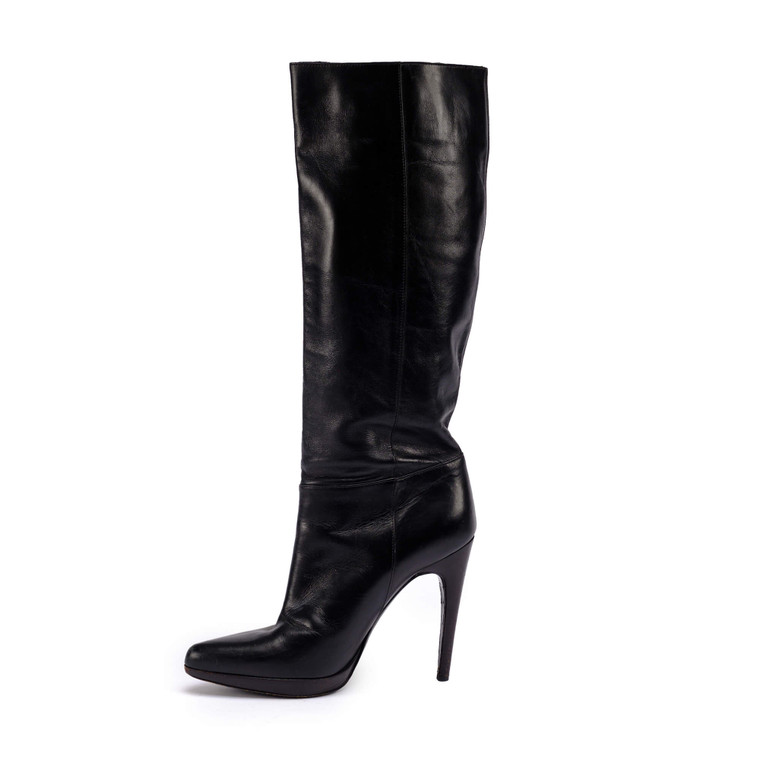 Women Casadei Knee-High Leather Heels -  Black Size 40 US 9