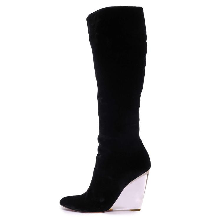 Women Vicini Knee-High Velvet Wedges -  Black Size 40 US 8.5