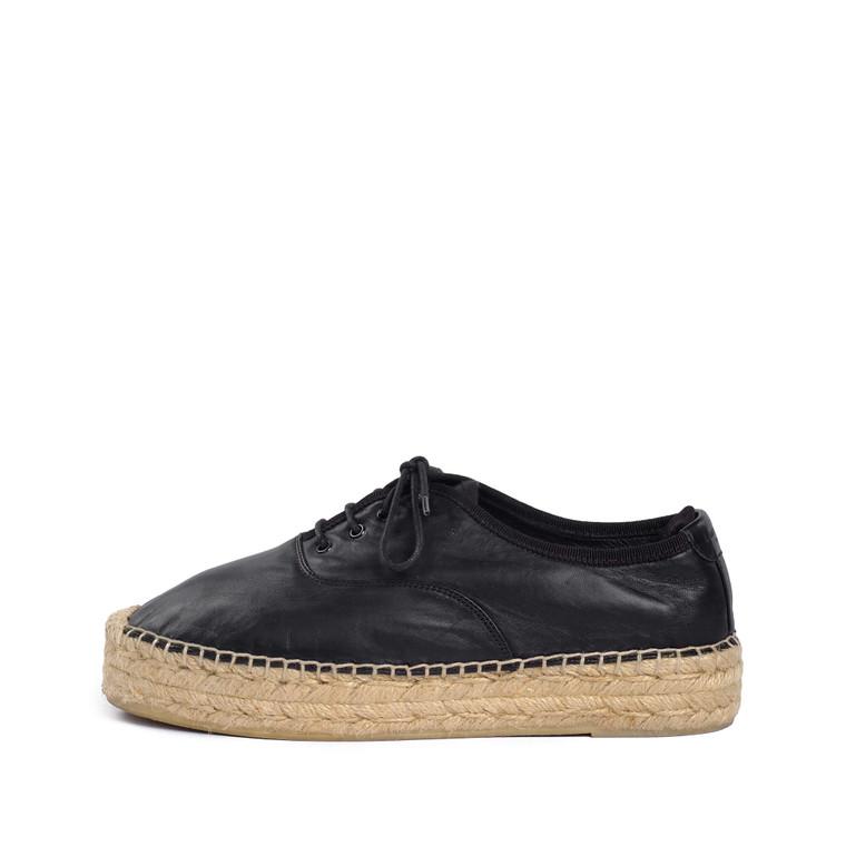 Women Saint Laurent Leather Lace-up Espadrilles Black -  Black Size 38 US 7