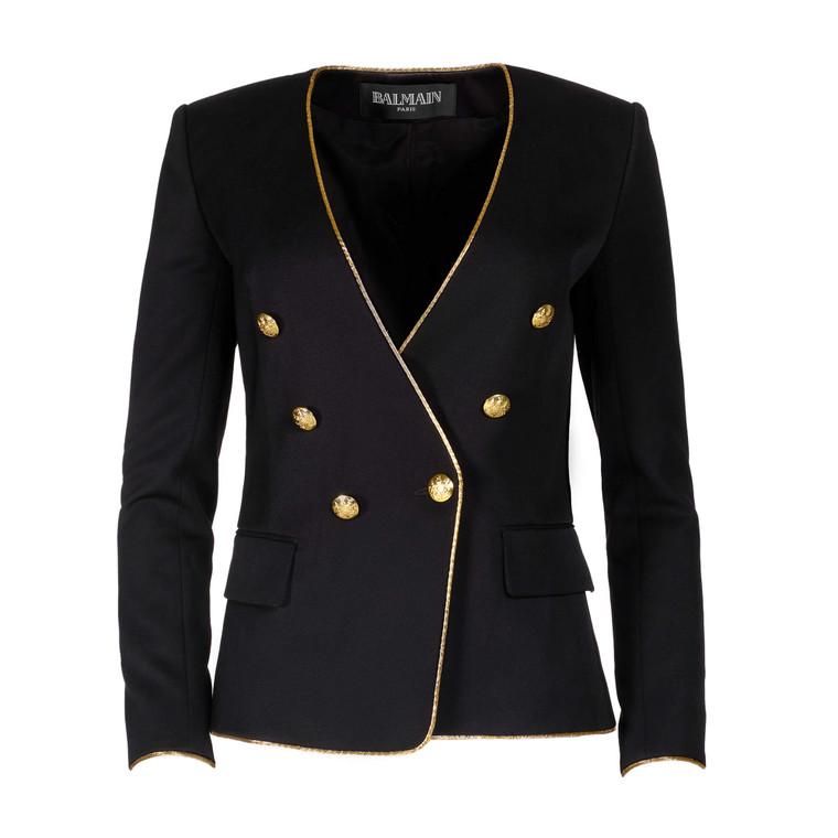 Women Balmain Fitted Blazer -  Black Size S FR 38 US 6