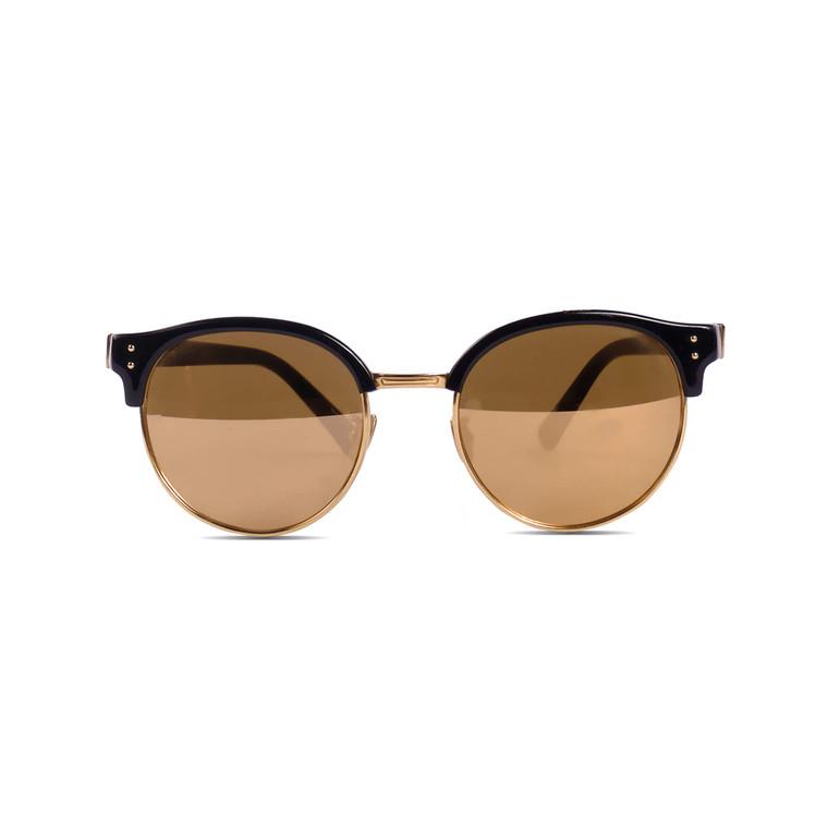 Women Linda Farrow Round Gold Frame Glasses -  Black