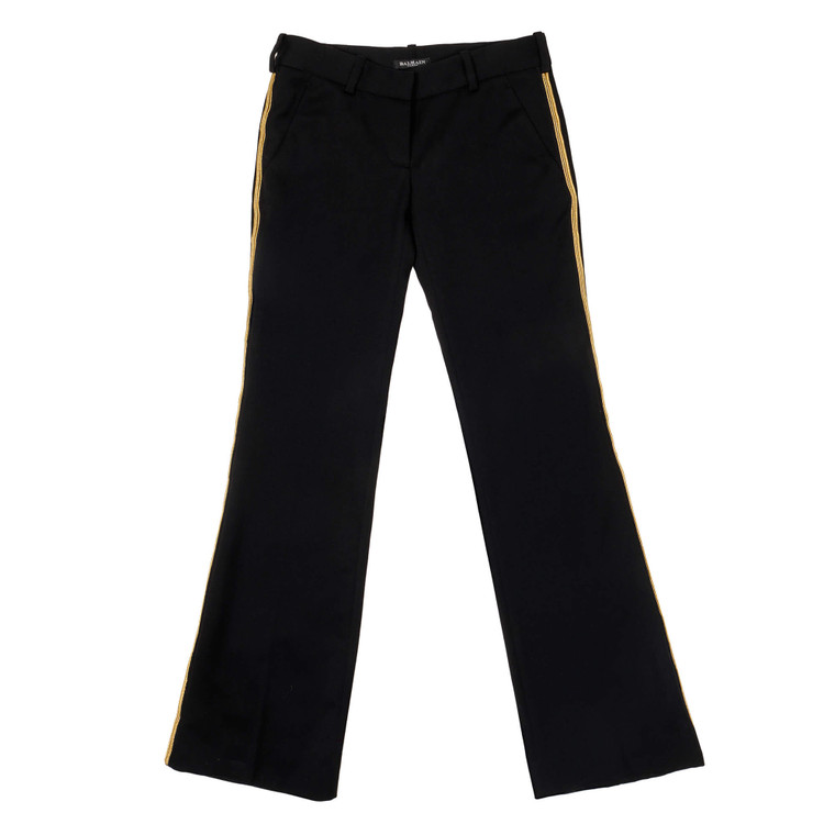 Women Balmain Cropped Flare Trousers -  Black Size S FR 34 US 2