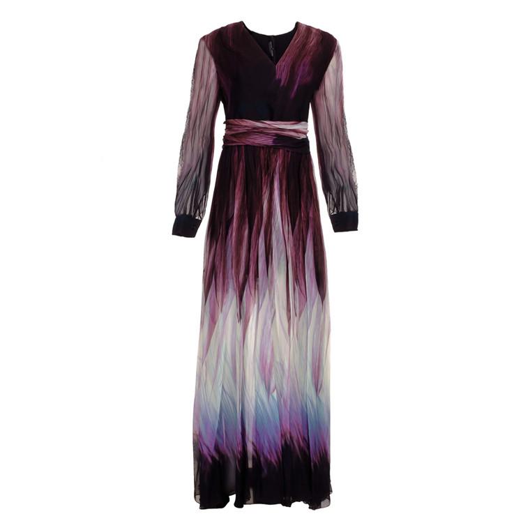 Women Elie Saab Dark Dipped Dress Fall 2017 -  Black  Purple Size L FR 46 US 14