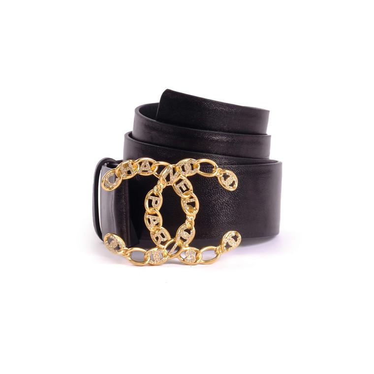 Women Chanel Embellished Logo Belt -  Black
