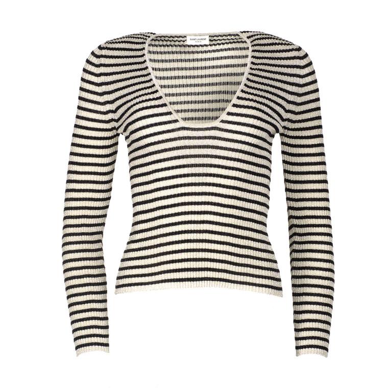 Women Saint Laurent Long Sleeve Striped Top -  Multi Size S US 6 FR 38