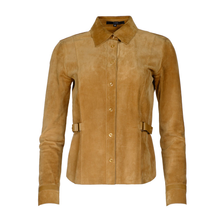 Women Gucci Fitted Suede Shirt Jacket -  Brown IT 40 Size S US 4