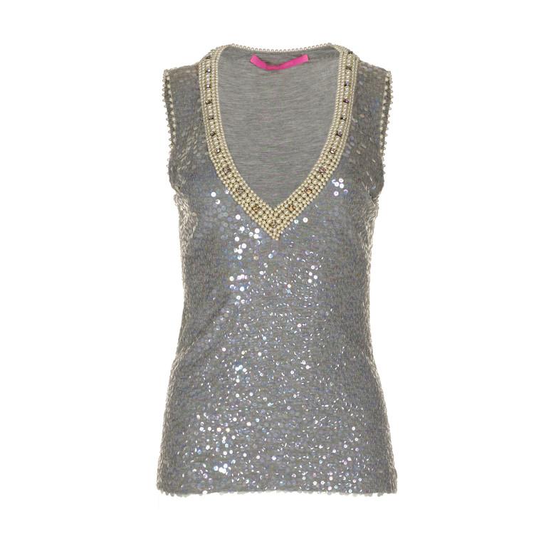Women Emanuel Ungaro Sequin & Pearl Shirt Grey -  Grey Size L US 10