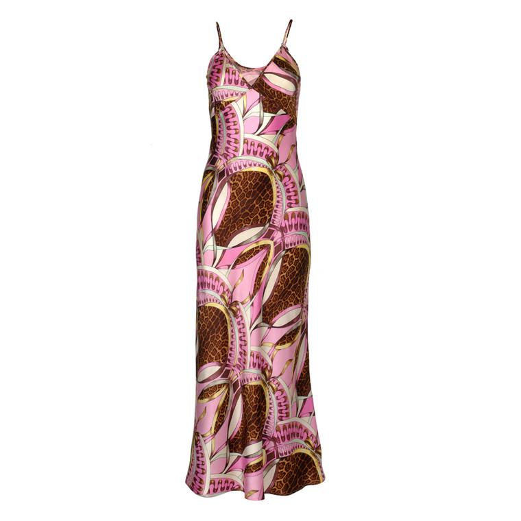 Women Roberto Cavalli Leopard & Flower Print Camisole Midi Dress -  Multi Size M IT 44 US 8