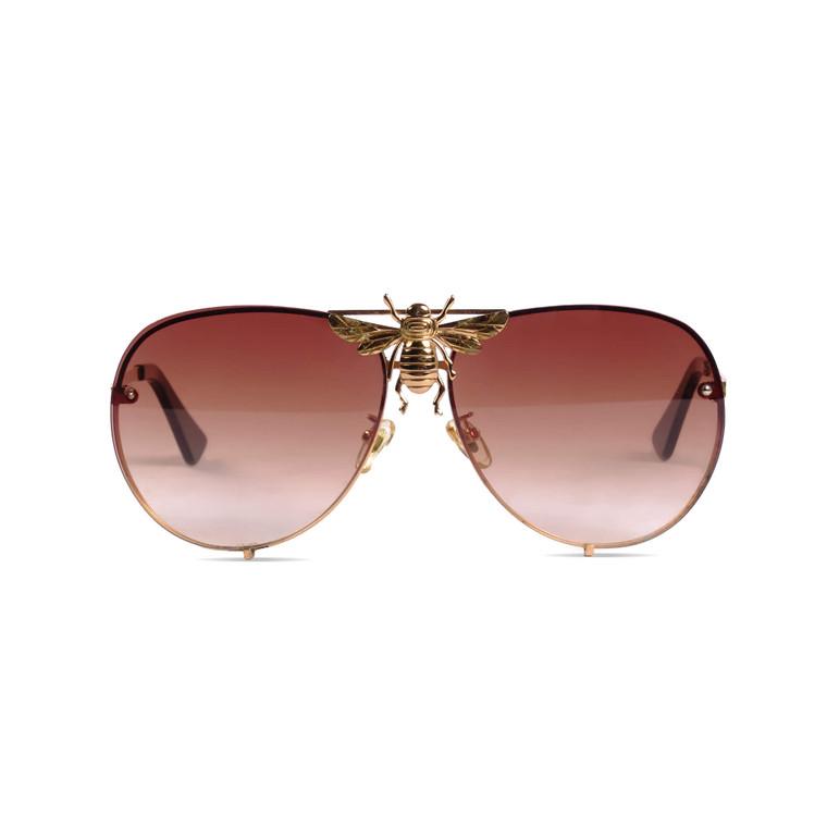 Women Gucci Gold Plated Bee Aviator Sunglasses -  Gold
