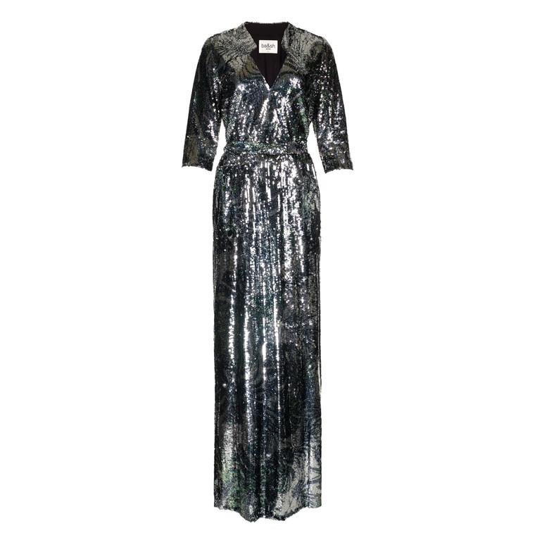 Women ba&sh Jeline Sequinned Maxi Dress -  Silver US 10 Size L
