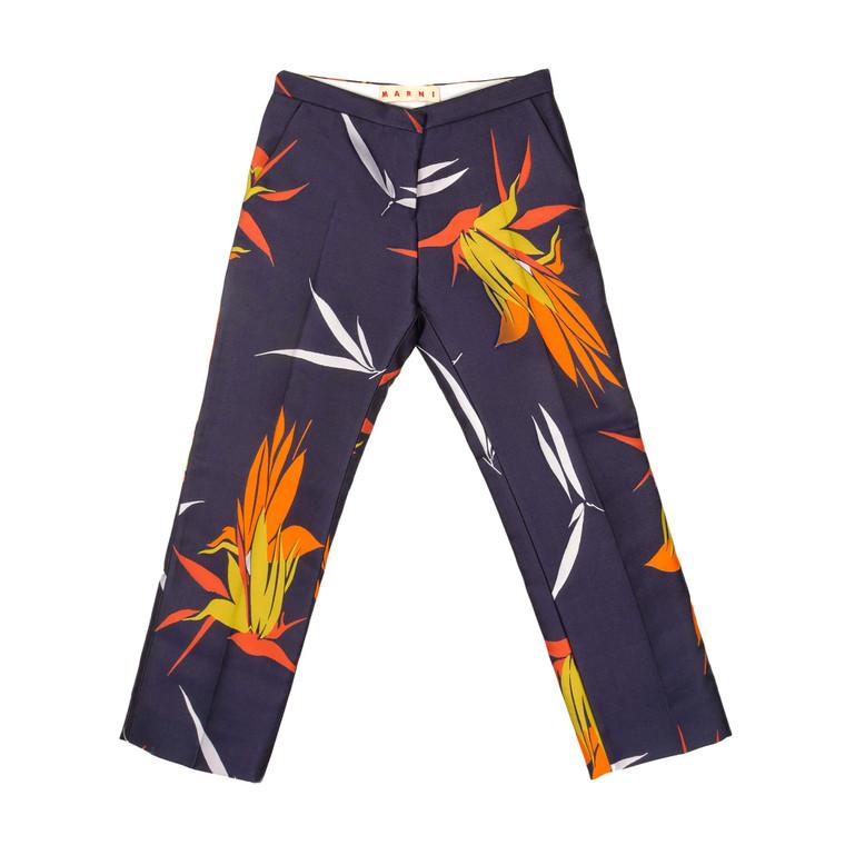 Women Marni Bird of Paradise Print Pants -  Blue Size S IT 38 US 2