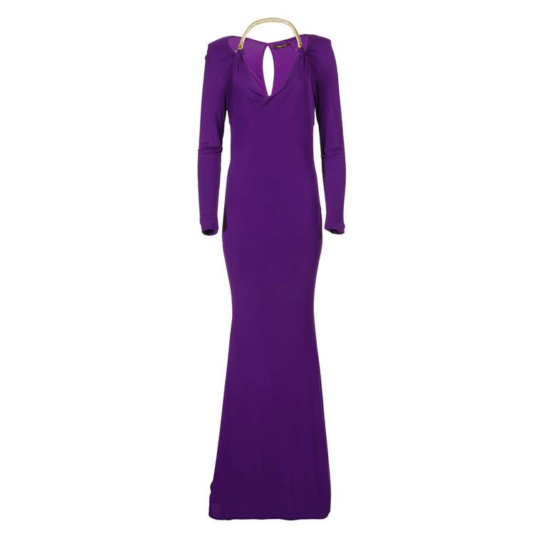 Women Roberto Cavalli Purple Evening Gown with Gold Embellishment -  Purple IT 48 US 12 Size L