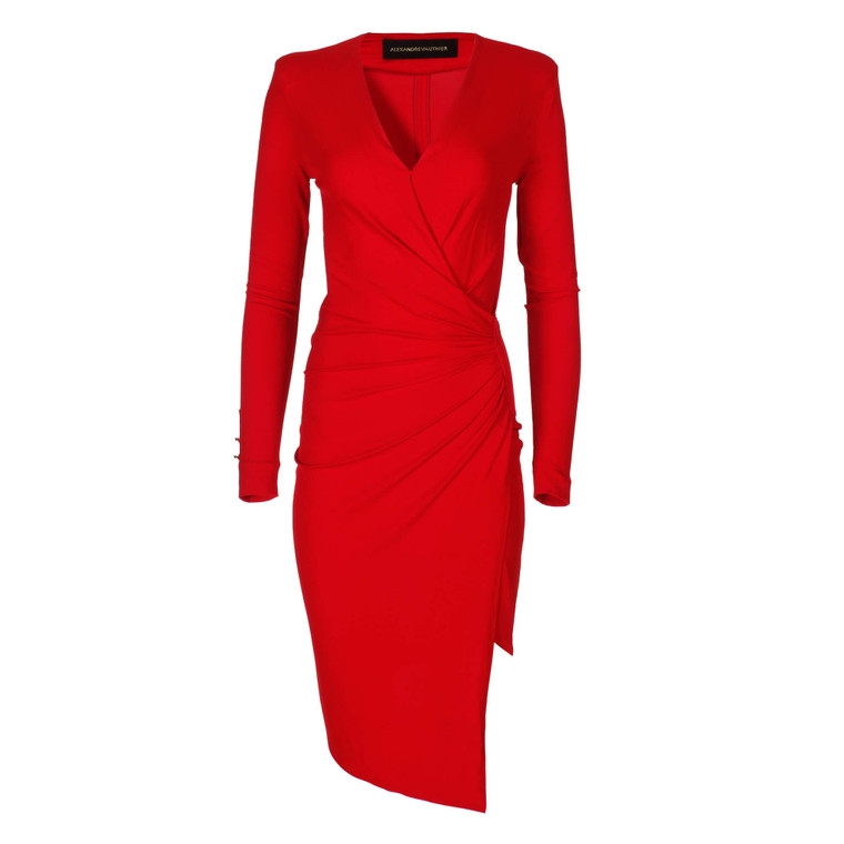 Women Alexandre Vauthier Fitted V-Neck Dress Red -  Red FR 38 Size S US 6